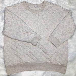 GAP Diamond Quilt Oatmeal Cropped Sweatshirt